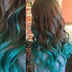 Image result for teal roots brown hair