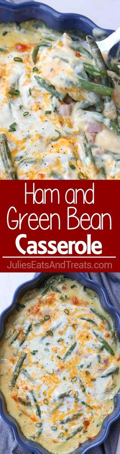 Ham and Green Bean Casserole Recipe ~ Your Favorite Green Bean Casserole Recipe Made Into a Main Dish! This Easy Dinner Recipe is Perfect for Busy Weeknights!
