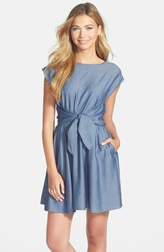 CeCe by Cynthia Steffe Dot Chambray Fit & Flare Dress available at #Nordstrom