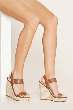 Faux Leather Espadrille Wedges #stepitup
