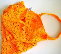 Orange spider bag. Written crochet tutorial with diagram for the stitch pattern.