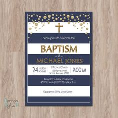 D0239 Welcome to my shop! -- This listing is for a personalized image of the navy Baptism invitation (this is a digital file, no materials will be shipped). You can print as many as you need.  FOR OTHER BAPTISM DESIGNS https://www.etsy.com/shop/DamabDigital?ref=hdr_shop_menu&section_id=18980477  -- You will get one high resolution JPEG or PDF file for printing. -- Unlimited Revisions! My work is not complete until you are 100% satisfied!  -- During checkout p...