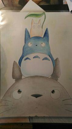 Made my childhood. #totoro #my #neighbour #mein #nachbar #drawing #art #zeichnung #kunst #kinderfilm #pencils #buntstifte
