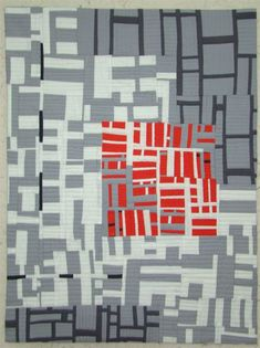 """Interesting """"Red Square"""" by Connie Carrington. Map Quilt, Quilt Blocks, Quilting Projects, Quilting Designs, Gees Bend Quilts, Black And White Quilts, Quilt Modernen, Contemporary Quilts, Art Moderne"""