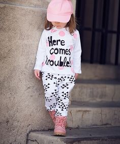 Look at this #zulilyfind! White 'Here Comes Trouble' Tee & Pants - Toddler & Kids #zulilyfinds