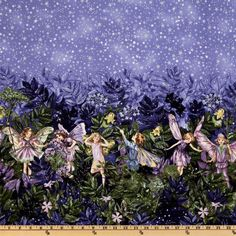 Michael Miller Night Flower Fairies Double Border Stripe Nite Blue from @fabricdotcom  Licensed by the Estate of Cicely Mary Barker to Michael Miller Fabrics, this cotton print fabric features a double border of whimsical flower fairies and is perfect for quilting and craft projects. Stripes run parallel to the selvage. Depth of the border at the highest point is 17''. Colors include lavender, purple, green, yellow and white with silver metallic accents.