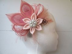 Blush Coral Bridal Fascinator Peacock by NakedOrchidGarters