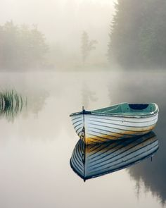 Old wooden boat, misty, mist, beauty of Nature, water, reflection, peaceful, silence, solitude, photo