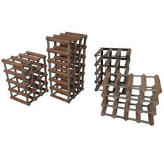 Set Of Four Wood/Metal Wine Racks