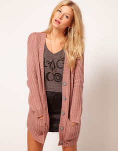 chunky cardigan - I adore long sleeves and around-the-butt lengths!  Colors: cream, black, dark brown, forest or olive green, bright blue, navy blue, teal, soft peach or coral, soft or deep grey, or burnt/rust orange.