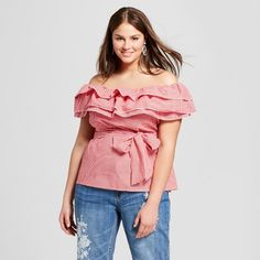 Find product information, ratings and reviews for Women's Plus Size Gingham Seersucker Ruffle Bardot Top - Who What Wear™ online on Target.com.