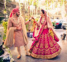 Buy Designer Indian Saree, Bollywood Collection of Anarkali Salwar Suits, Designer Gowns Pink Bridal Lehenga, Wedding Lehnga, Wedding Sherwani, Wedding Dress Men, Indian Bridal Lehenga, Indian Bridal Outfits, Indian Bridal Wear, Punjabi Wedding, Wedding Couples