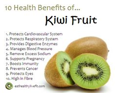 Per medium fruit, the kiwi contains:  Calories: 42 Protein: 0.8 grams Total fat: 0.4 grams Fiber: 2.1 grams Vitamin C: 64 milligrams Vitamin A: 3 micrograms Iron: 0.2 milligrams Potassium: 252 milligrams Folate: 17 micrograms.