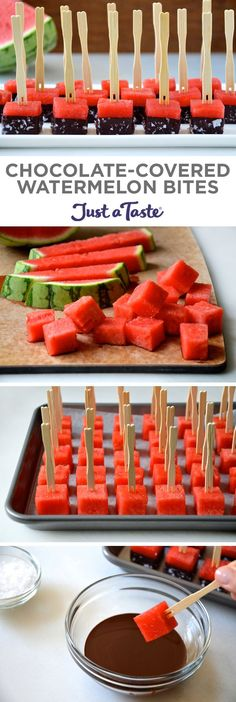 Healthy Chocolate-Covered Watermelon Bites star refreshing cubes of juicy watermelon dunked in chocolate and sprinkled with sea salt. Watermelon Recipes, Fruit Recipes, Summer Recipes, Dessert Recipes, Cooking Recipes, Watermelon Appetizer, Watermelon Cake, Recipes Dinner, Cooking Tips