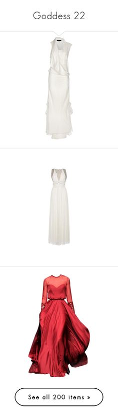 """""""Goddess 22"""" by ladyequestria ❤ liked on Polyvore featuring dresses, gowns, maxi dresses, wedding dress, women, white sleeveless dress, double layer maxi dress, sleeveless maxi dress, scoop-neck dresses and white layered dress"""