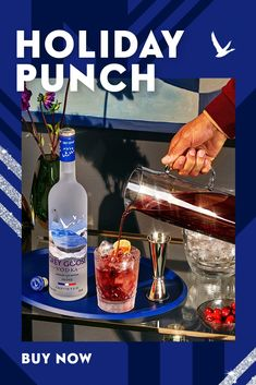 Holiday Punch, Holiday Cocktails, Cocktail Drinks, Fun Drinks, Yummy Drinks, Cocktail Recipes, Alcohol Drink Recipes, Punch Recipes, French Vodka