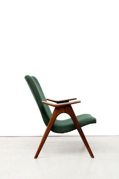 Groene vintage design fauteuil easy chair www.vanons.eu