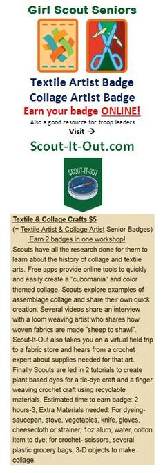 Girl Scout Senior Textile Artist and Collage Artist badges ONLINE