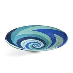 "Amazon.com: Fair Trade Zulu Telephone Wire 12"" Platter Basket, African Ocean: Home & Kitchen"