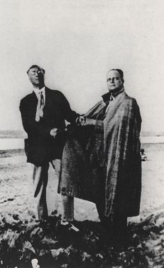 Wassily Kandinsky and Paul Klee posing as Goethe and Schiller. Bauhauslers were amused by the Goethe and Schiller monument in Weimar. The students once during the night painted it red.