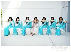 An Indian Bride with her bridesmaids. The color of the bridesmaids dresses is stunning! Bridesmaid Poses, Bridesmaid Saree, Indian Bridesmaids, Bridesmaid Outfit, Brides And Bridesmaids, Bridesmaid Pictures, Indian Wedding Planning, Big Fat Indian Wedding, South Asian Wedding