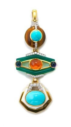Couture - Totem Pendant Necklace - By section: Turquoise and tiger's eye; spessartite garnet, amethyst, and green onyx; cabochon turquoise and white enamel; each section with brilliant-cut diamonds, in 18K gold and platinum
