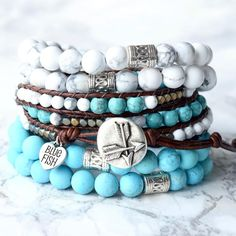 Turquoise Beads, Turquoise Bracelet, Stretch Bracelets, Beaded Bracelets, Surfer Bracelets, Handmade Sterling Silver, Heart Charm, Jewelry Crafts, Antique Silver