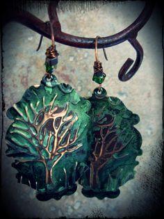 Tree Embossed Earrings by skyejewels on Etsy, $22.00