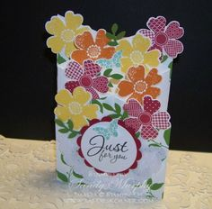 stampin up flower shop and punch card ideas | Stampin Up Cascade Card Using Flower Shop Holiday Catalog