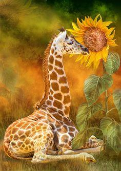 Growing Tall - Giraffe Mixed Media by Carol Cavalaris
