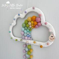 Pom Pom Crafts, Rope Crafts, Gift Shop Decor, Happy Birthday Cards Handmade, Mobiles, Girl Bedroom Designs, Felt Ball, Pastel, Rainbow