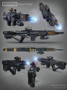 Assault rifle from ArtStation - Solstice X Concept Weapon Design, Kesryth Urban #future gun