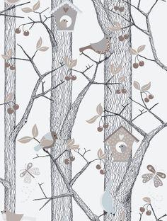 Borastapeter Lilleby 2651 vogelhuisjes behang