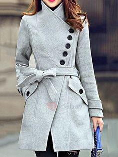#TideBuy - #TideBuy Slim Long Sleeve Mid-Length Regular Overcoat - AdoreWe.com