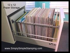 The most AMAZING 12 x 12 paper storage system!  IKEA kitchen cabinets with a little conversion - www.SimplySimpleStamping.com