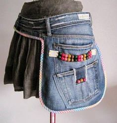 Cool fairy pockets, utility belt, folk belt bag to make 13 Ideas para Hacer Mandiles con Viejos Jeans ¡Fenomenales!