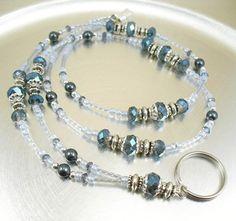 Blue Crystal and Swarovski Pearl Beaded Lanyard, ID Badge Holder | mmojewelry - Accessories on ArtFire