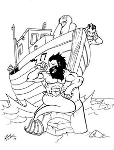 I could totally imagine this mrman as a tattoo without the boat in the background