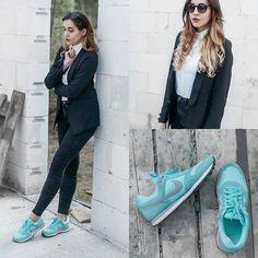 Mone Photos - Romwe Lapel Fitted Black Blazer, Romwe Asymmetric Hem Slim Sheer White Shirt, Nike Wmns Md Runner - Sport & Elegance - outfit #12