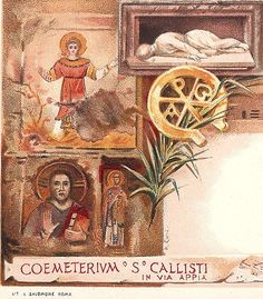 St. Callixtus Catacombs, Rome, Italy Vintage Lithograph Postcards