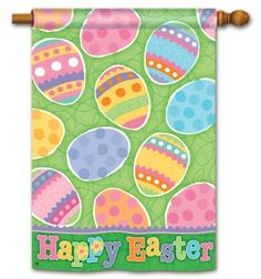 """Easter Egg Hunt House Flag - 2 Sided by BreezeArt. $19.99. Handcrafted flags made from soft, high-quality special treated fabric.. Water repellent & UV resistant to extend the life and vibrancy of the flag.. Easter Egg Hunter House Flag. Easter house flag features brightly colored collection of Easter eggs by Artist Ellen Krans. Pretty background and unique border. Printed Easter House Flag Measures 28"""" x 40"""". Unique flag reads correctly from both sides.  For tangle free Ea..."""