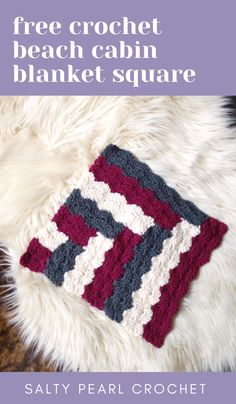 Looking for an easy crochet blanket square pattern FREE? You're going to love the funky quilt inspi Looking for an easy crochet blanket square pattern FREE? You're going to love the funky quilt inspired Cabin on the Beac. Granny Square Häkelanleitung, Granny Square Pattern Free, Crochet Square Blanket, Crochet Blocks, Granny Square Crochet Pattern, Crochet Squares, Granny Squares, Crochet Granny, Granny Granny