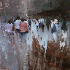 """Shopping District"" original fine art by Tibor Nagy"