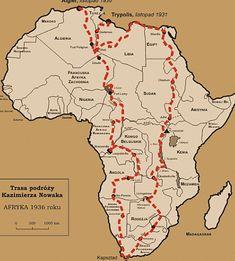 Nowak's route across Africa