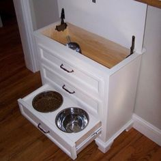 Nice cabinet to hide the dog dish.