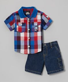 Look at this #zulilyfind! Blue & Red Plaid Button-Up & Cargo Jeans - Infant & Toddler by Boys Rock #zulilyfinds