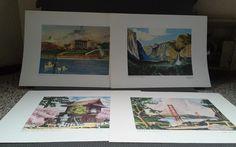 "Lot of 4 #SanFrancisco #Watercolor #Prints Floyd Hildebrand 15.5""x11.5"" #HomeDecor #Impressionism"