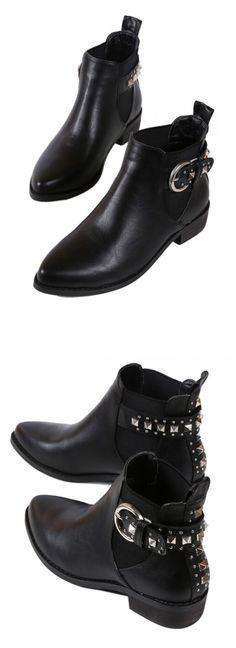 Black Stud Embellished PU Pointed Ankle Boots