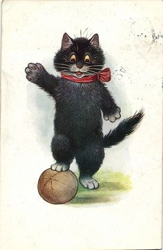 Black cat playing soccer football Louis Wain ? postcard 1920's
