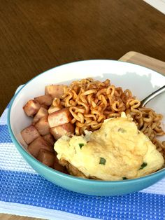 Samyang Noodles with Pork Luncheon Meat